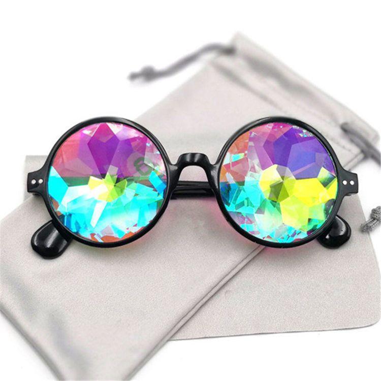 热卖万花筒眼镜表演马赛克迷幻音乐会太阳镜Kaleidoscope glasses