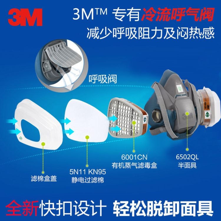3M 6502QL 头戴式双滤盒中号硅胶半面型防毒面具 防护快扣半面罩