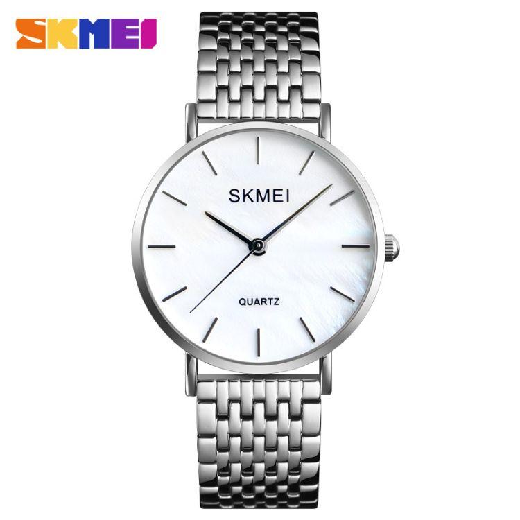 skmei时刻美精美贝面女士石英表简约防水美优达机芯不锈钢女腕表