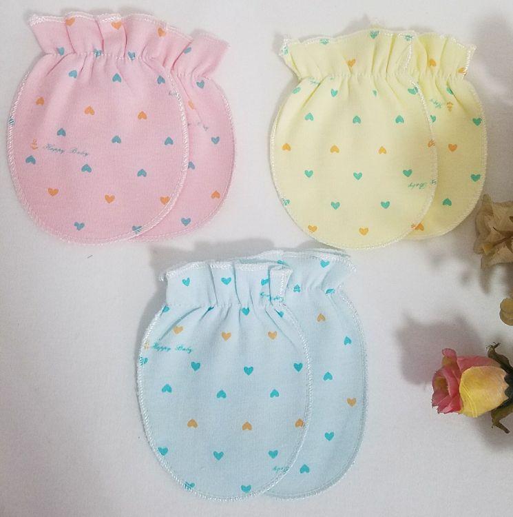 新生儿护手套装 厂家直销初生婴儿防抓伤桃心印花 全棉护手套