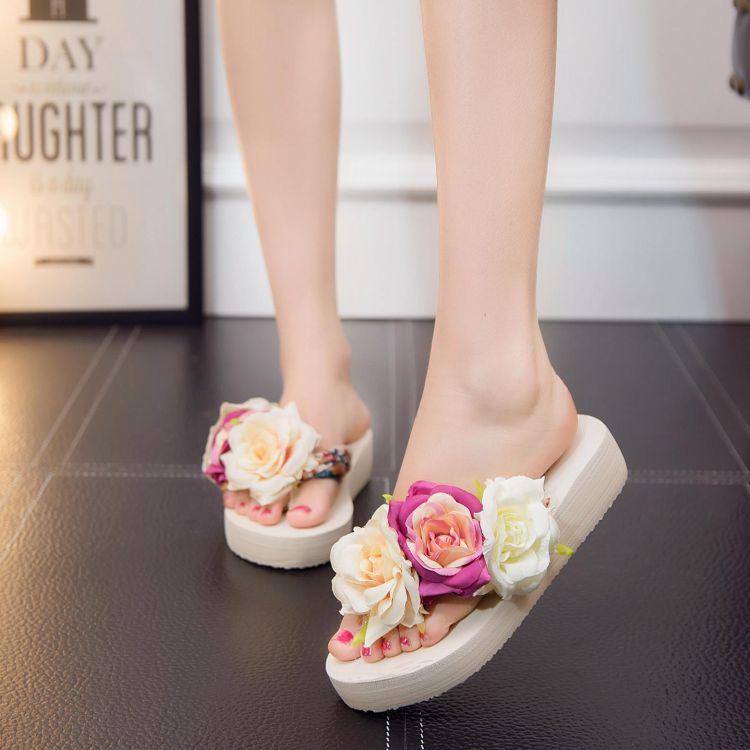 新款韩版女2019夏时尚凉拖鞋防滑平跟人字拖波西米亚民族风花