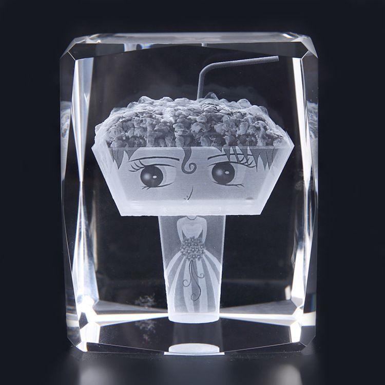 水晶内雕个性定制 结婚纪念日雕刻3D激光技术生日礼物 创意礼品