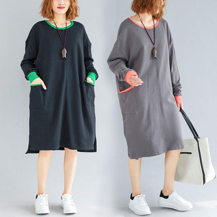 2018秋季新款纯色宽松大码胖MM上衣 韩版中长款长袖T恤女广州女装