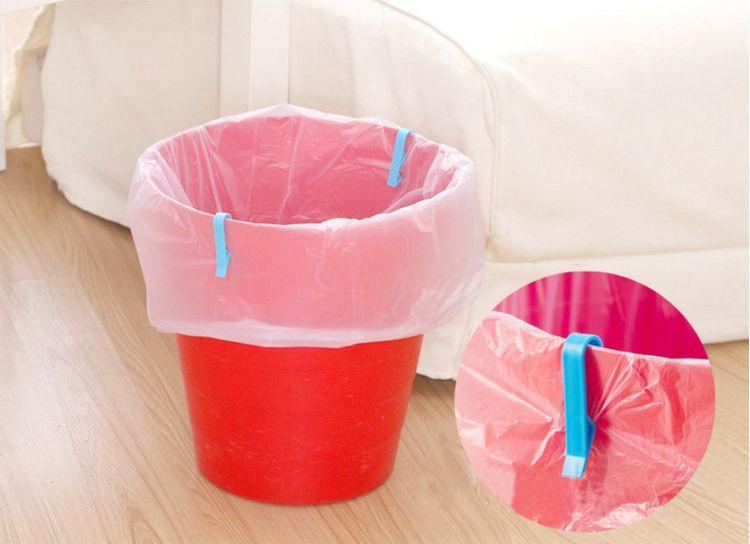 创意直型垃圾桶夹子2个装 垃圾袋防滑夹桶边夹 垃圾袋固定夹