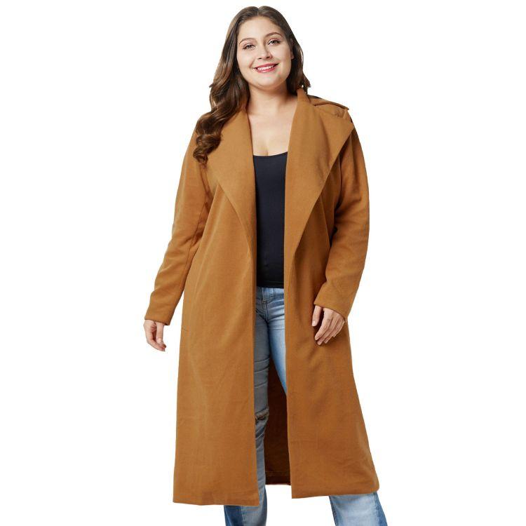2018跨境欧美新品超大码女装 胖mm冬装呢子大衣 翻领长款毛呢外套