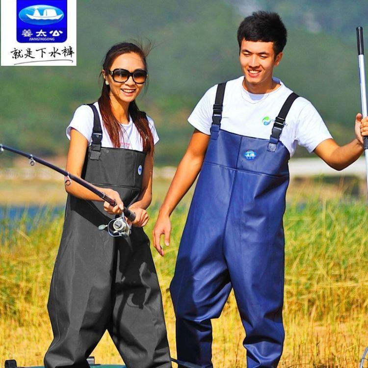 姜太公下水裤 连体加厚PVC牛筋底涉水裤 捕渔水产专用防水连体裤