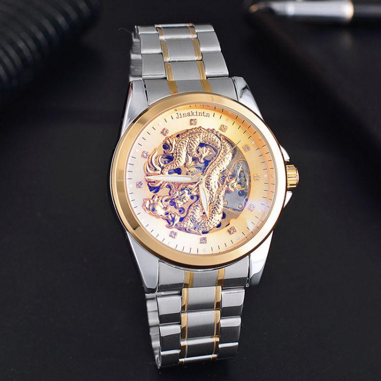 机械手表 防水精钢带男士手表 全自动机械表 JK欧米时镂空高品质