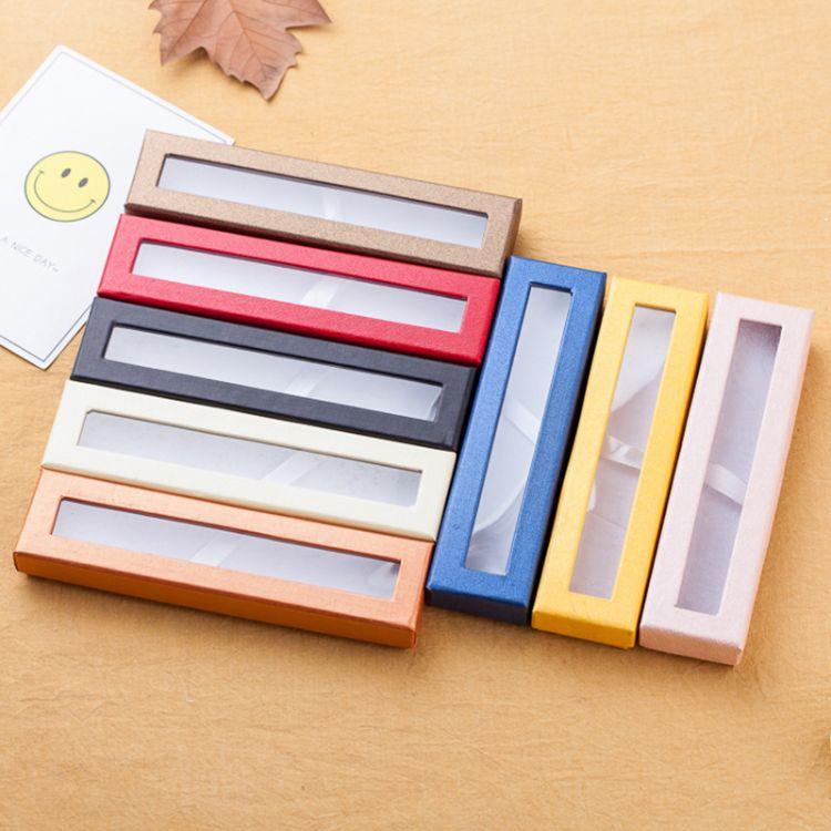 精品半透明纸质翻盖礼品笔盒 定制印logo 金属钢笔盒签字笔包装盒