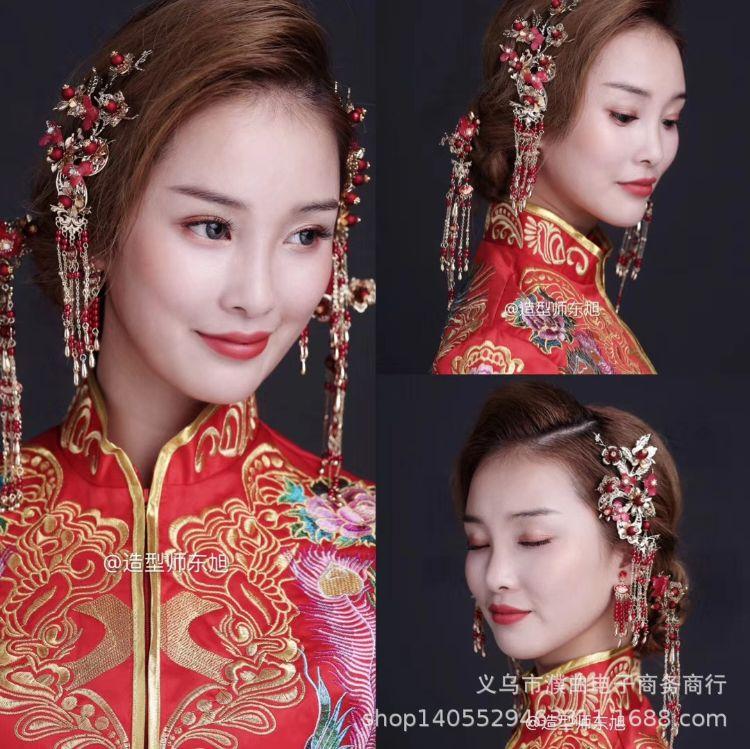 爆款奢华中式新娘结婚古装合金发钗头饰复古宫廷古典水钻饰品配饰