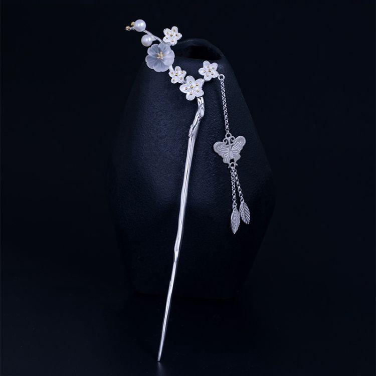 秋冬新款水晶梅花发簪女925银古风唯美蝴蝶流苏步摇天然珍珠发钗