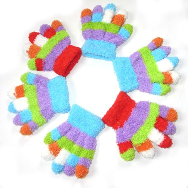 批发加厚儿童手套冬季保暖针织宝宝高档手套多色加厚手套儿童