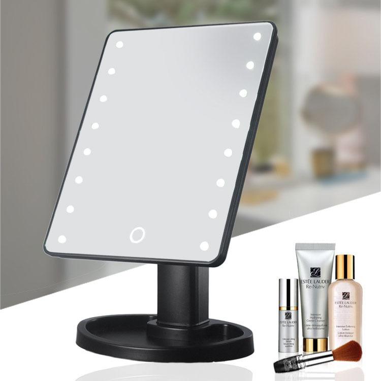 台式化妆镜 蒂朵便携式LED360旋转充电带灯补光触摸感应方形美容梳妆镜