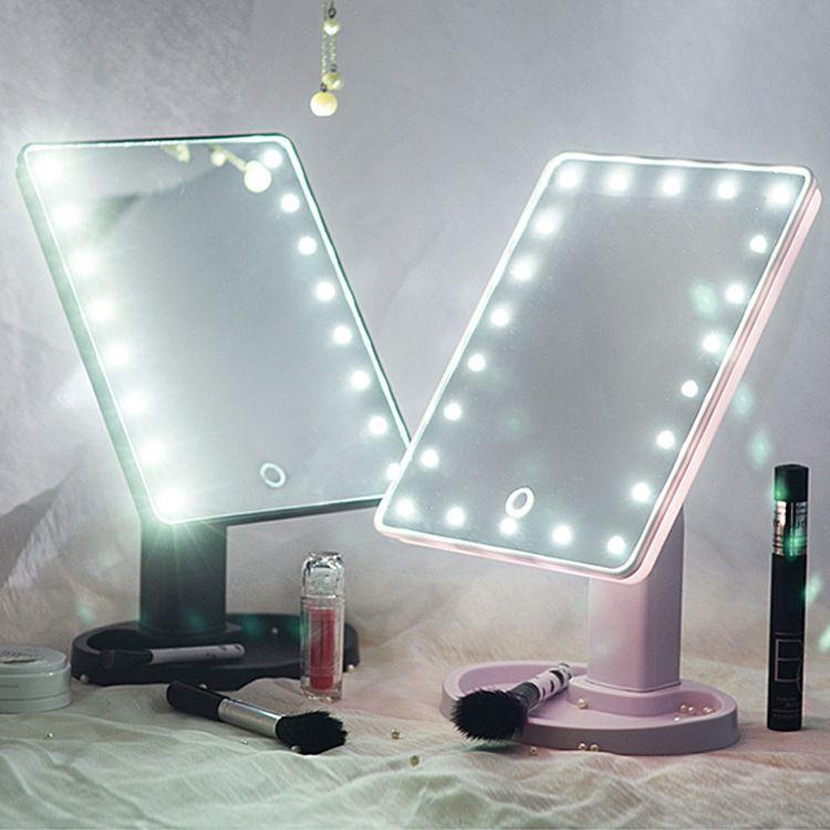 佛山台式化妆镜 热销厂家 便携式LED360旋转充电带灯补光触摸感应方形美容梳妆镜