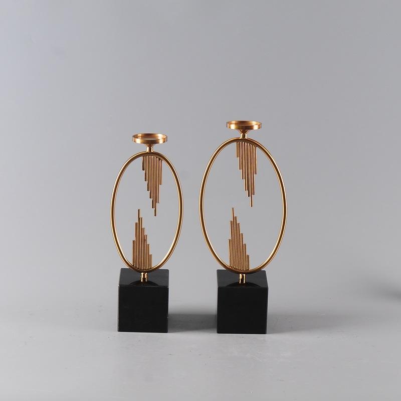 新中式烛台摆件创意铁艺样板房软装浪漫婚庆酒店餐桌装饰品摆件