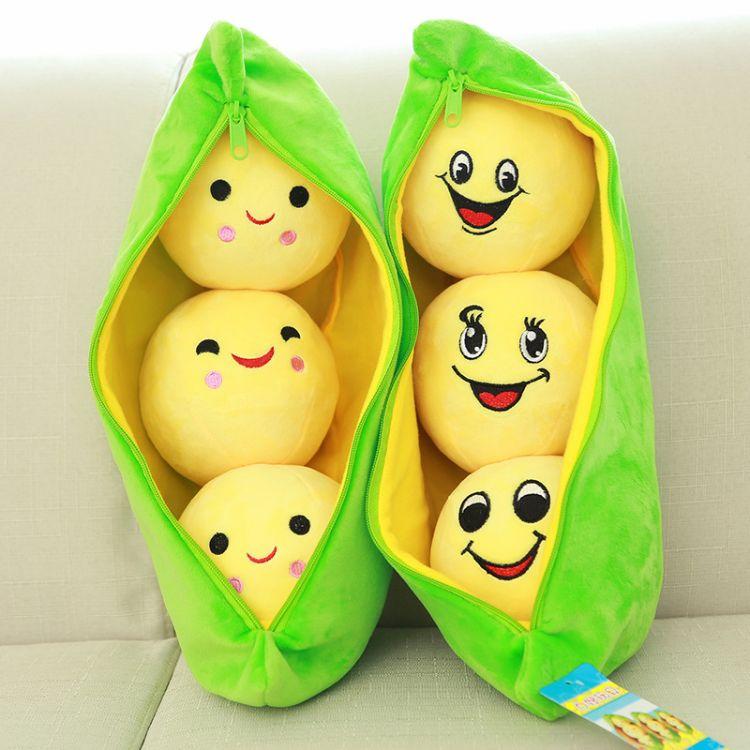 厂家直销豌豆荚可爱毛绒玩具布娃娃豌豆抱枕创意生日礼物批发定做