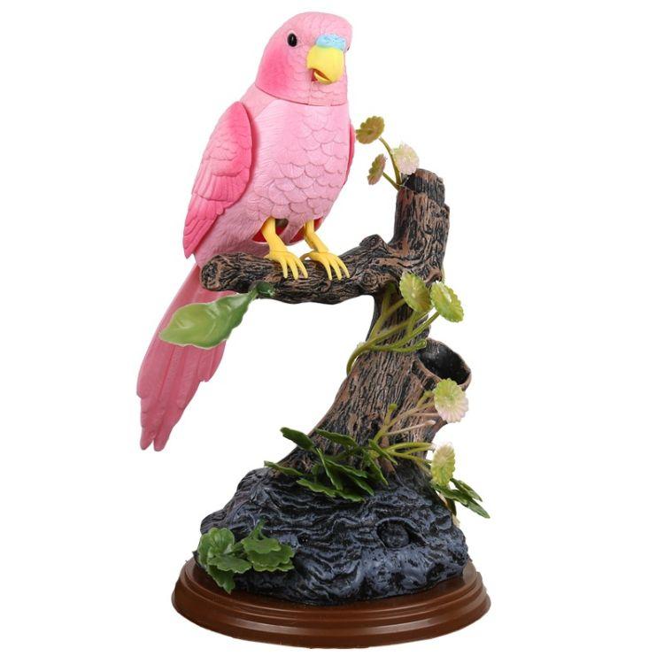 儿童玩具仿真动物517西骑士卡通声控鹦鹉带笔筒办公桌摆件说话鸟