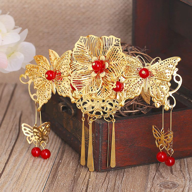 古装金色发饰红珠子缀蝴蝶中式新娘饰品头饰发饰结婚旗袍配饰