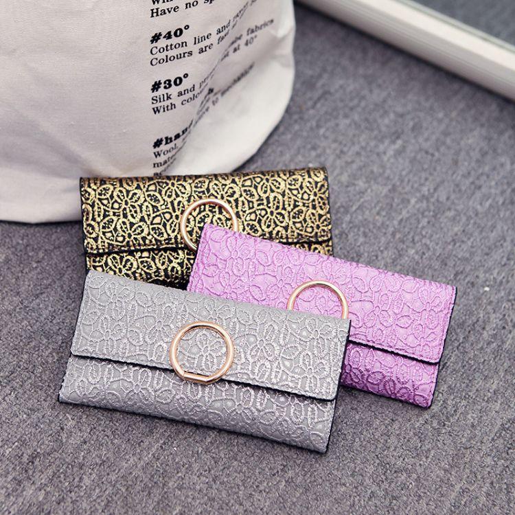 2017新款女士长款钱包 日韩版女款皮夹三折钱夹大容量女手拿包
