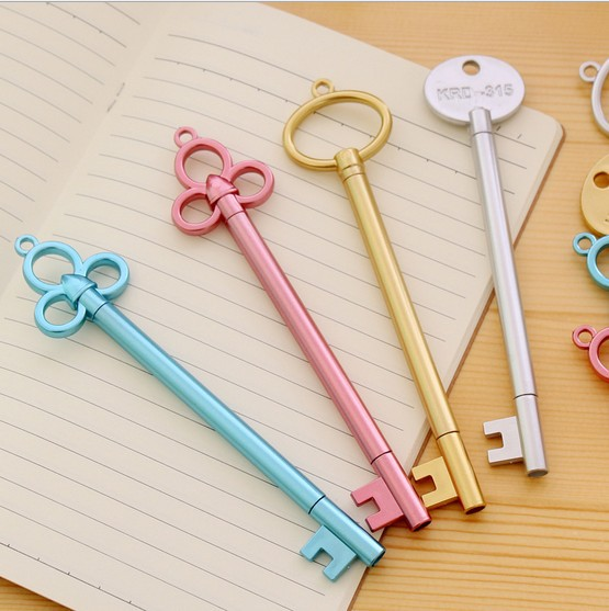 钥匙造型中性笔 创意文具批发 黑色水笔可爱小学生学习用品批发