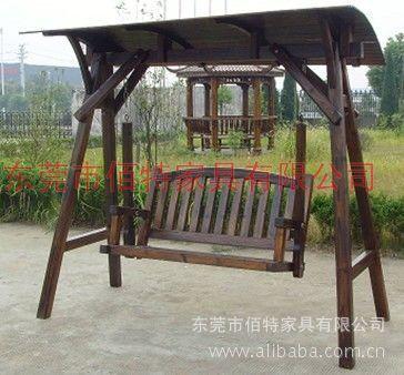 供应户外园林别墅景区碳化木防腐木休闲秋千椅