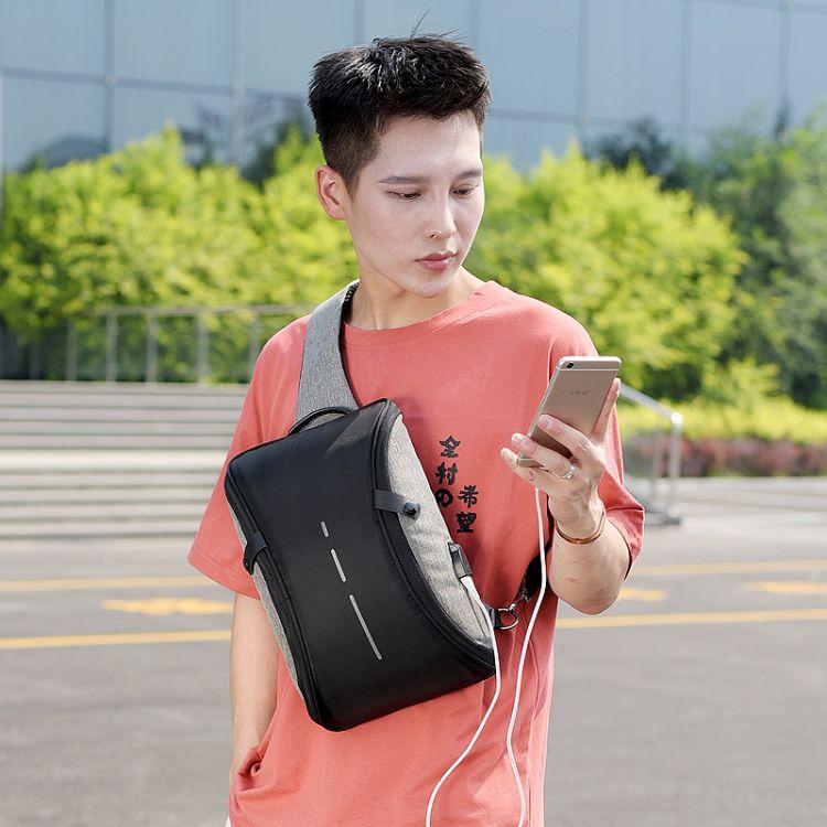2018新款夏季男士胸包韩版大容量背包复古休闲男士包包多功能斜挎