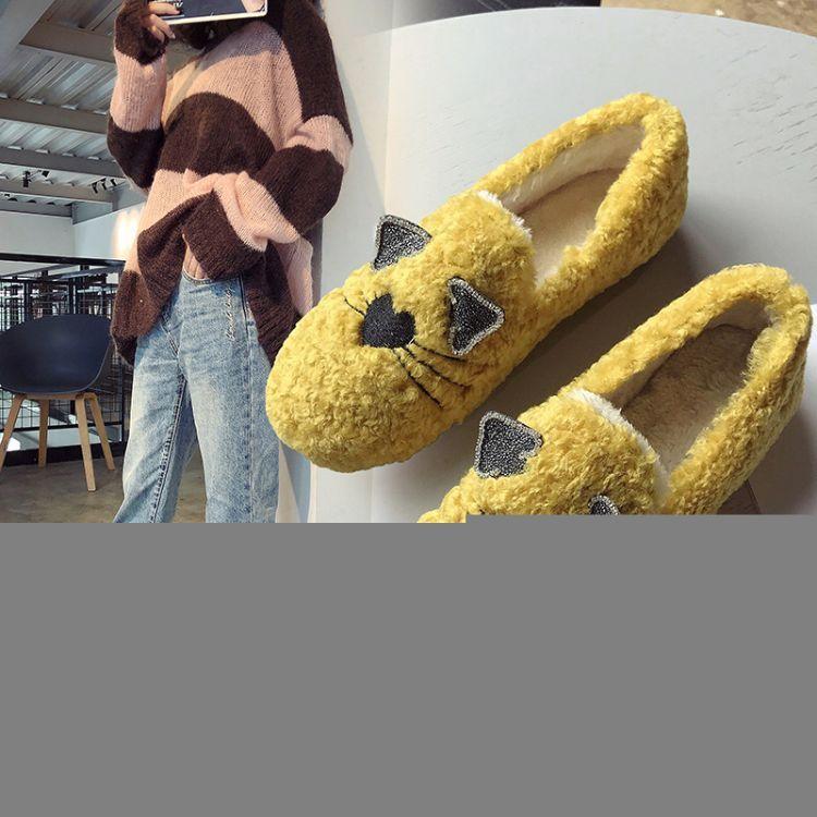 2018耳朵新款平底羊羔毛瓢鞋水钻猫秋冬加绒浅口豆豆鞋百搭毛毛鞋