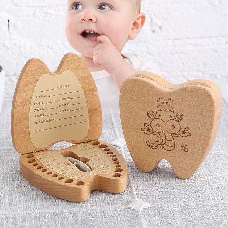 榉木制乳牙盒 胎毛盒 宝宝纪念品 儿童牙齿收藏保存盒