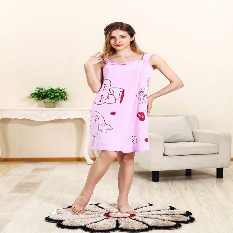 秋冬柔软舒适可穿式浴巾纤维加大加厚成人抹胸浴裙吸水