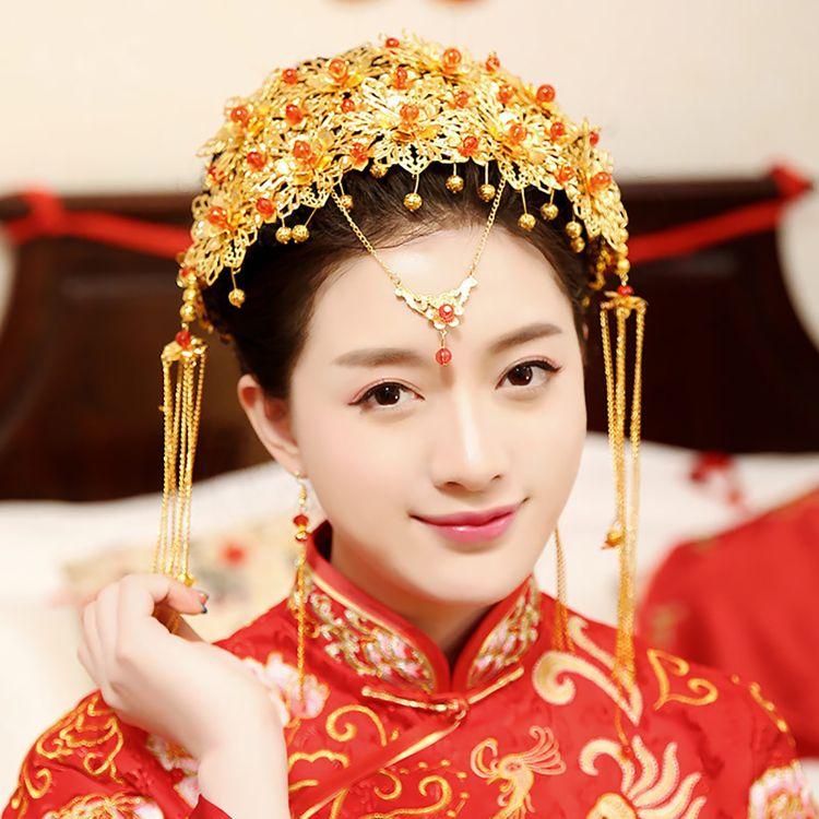 金珠秀禾服头饰套装中式新娘结婚流苏发饰耳环发梳三件套一件代发