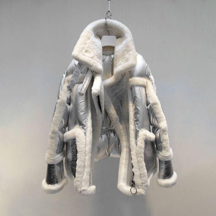 2018冬装新款 澳洲进口羊皮毛一体 羽绒 酷炫太空女式皮草外套
