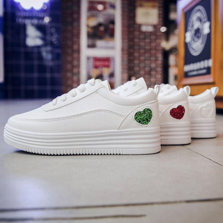 小白鞋女春秋2018新款单鞋休闲百搭平底板鞋厚底运动学生系带白鞋