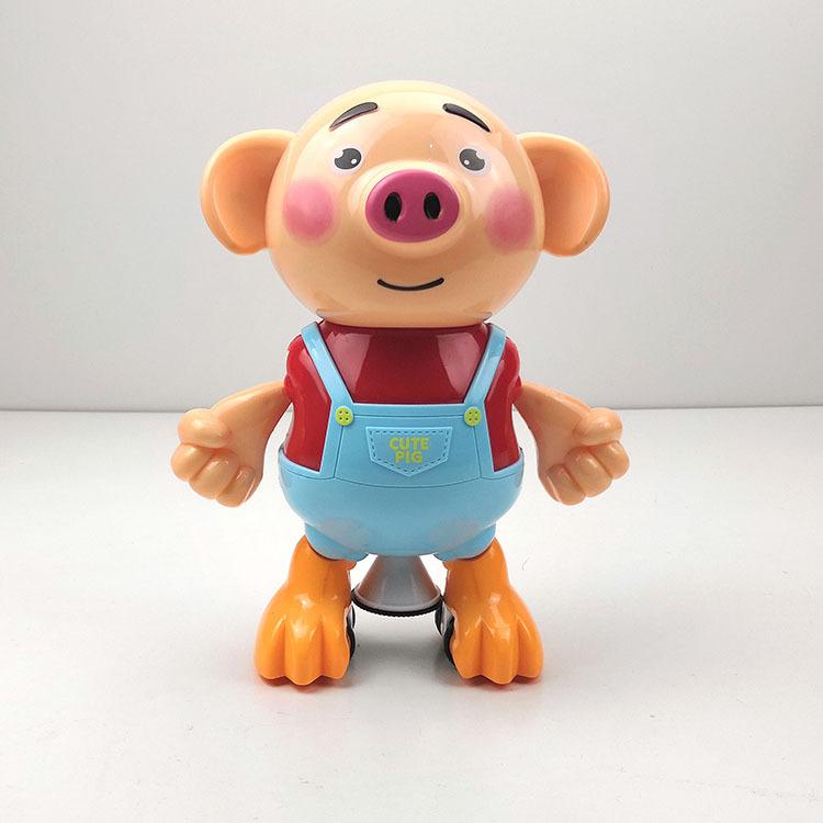 新款海草猪 儿童旋转电动跳舞萌萌猪闪光音乐玩具地摊热卖爆款