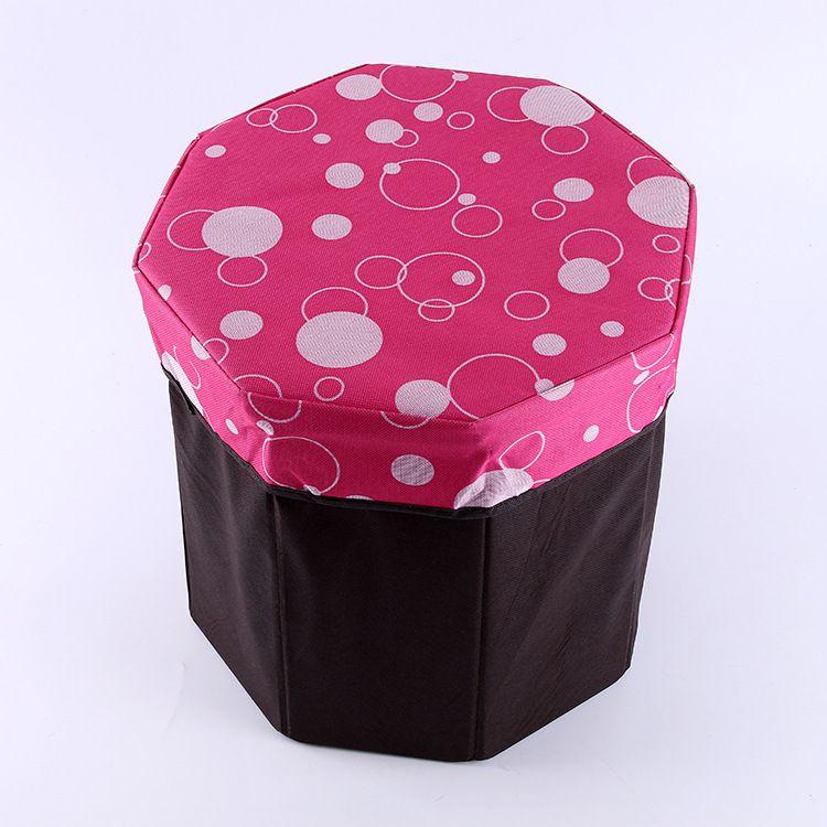 多边形帆布收纳凳家居折叠圆形凳多功能储物凳绒布收纳箱换鞋凳麻