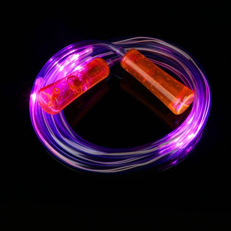 夜间健身发光跳绳定制 创意LED灯发光跳绳厂家 LED发光跳绳批发