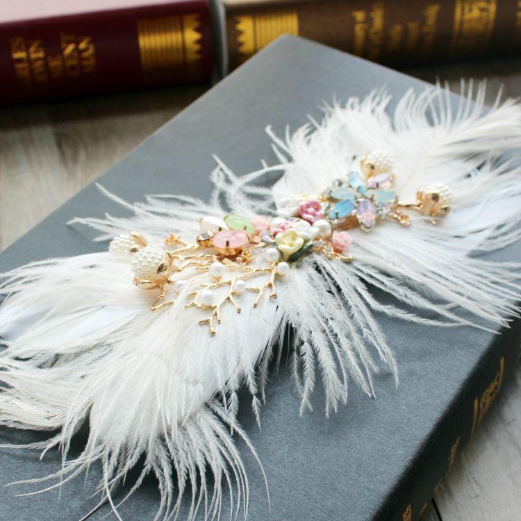 韓式新娘頭飾羽毛發夾手工發飾結婚禮服影樓拍照寫真造型配飾飾品