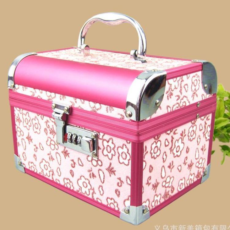 大号密码带锁手提化妆箱盒 新娘化妆首饰盒 中式结婚首饰盒 红色