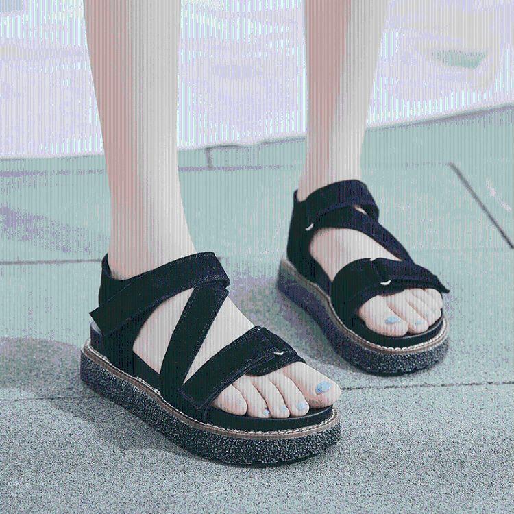 2018夏季新款厚底魔术贴女士凉鞋女韩版百搭厚底休闲跑步沙滩鞋