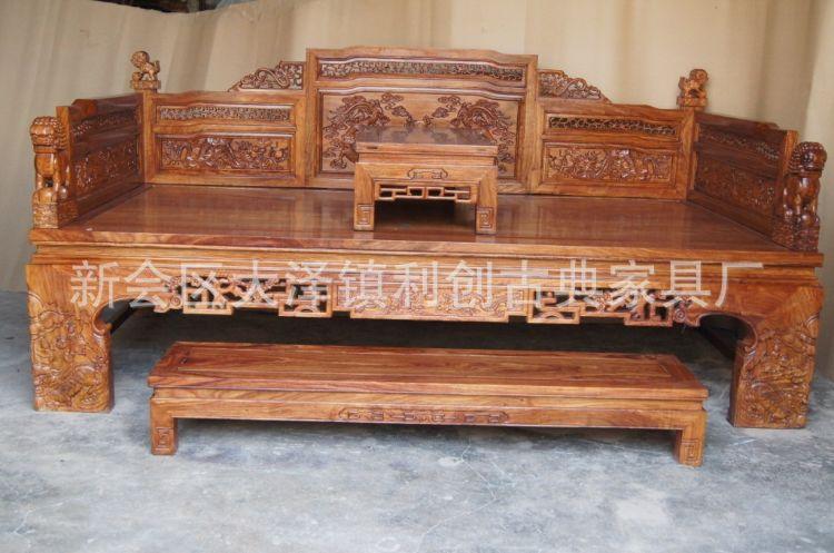 中式家具 红木罗汉床 花梨木罗汉床雕龙狮子罗汉床