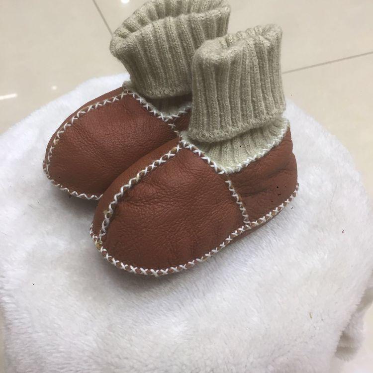 速卖通跨境专供天然羊毛螺纹口婴儿鞋皮毛一体保暖鞋羊毛一体儿童