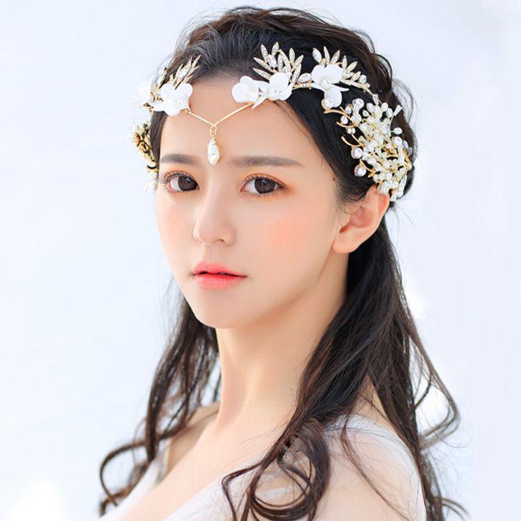 新娘韩式珍珠水钻蕾丝项链新娘额饰婚纱礼服配饰造型饰品额饰