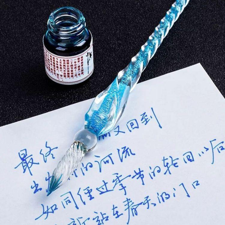 水晶玻璃笔蘸水笔学生用礼盒装套装彩色彩墨钢笔中国风手工沾水笔