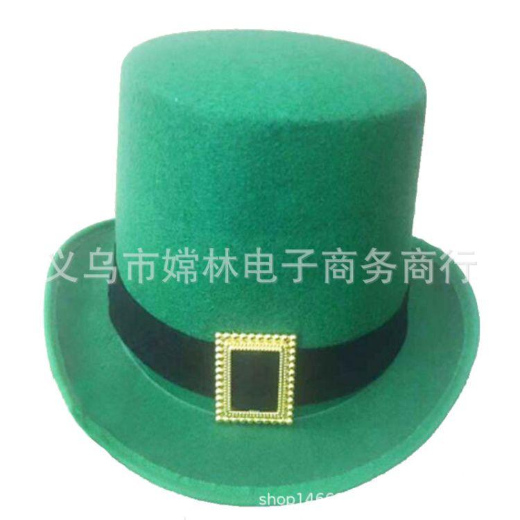 厂家直销绿色无纺布定型帽 爱尔兰节帽子帽 圣帕特里克节日帽