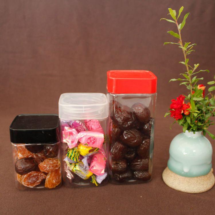 LF6590Z型号PET正方形塑料罐食品级包装罐干果茶叶透明盒