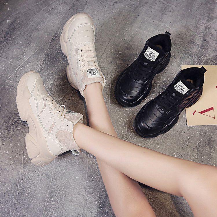 松糕底老爹鞋2018秋冬季新款加绒韩版ulzzang休闲运动鞋明星同款