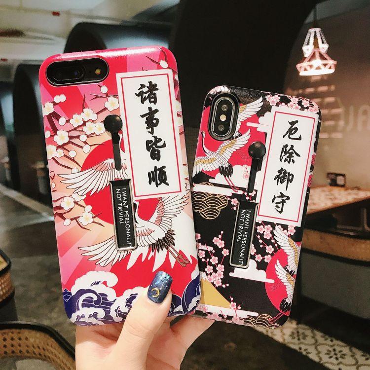 批发苹果x浮雕彩绘手机壳 适用7/8代/8plus防摔隐形支架手机
