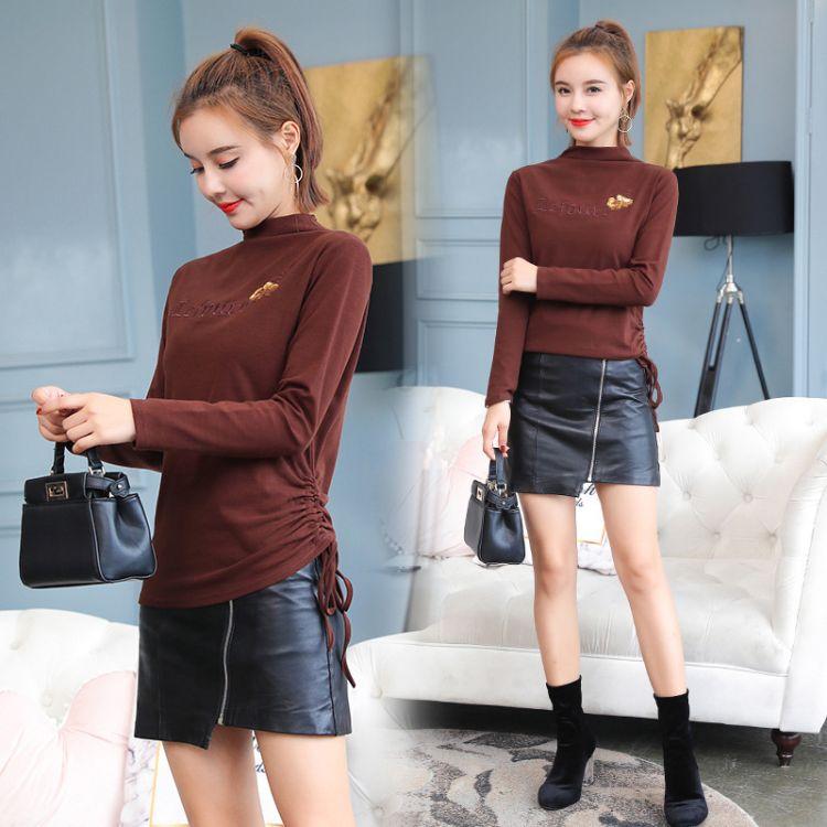 t恤女长袖秋装新款2018秋季韩版时尚修身显瘦上衣半高领打底衫女