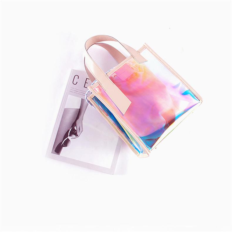 厂家定制PVC炫光单肩包手提包镭射霓彩透明内置收口子母袋肩背包