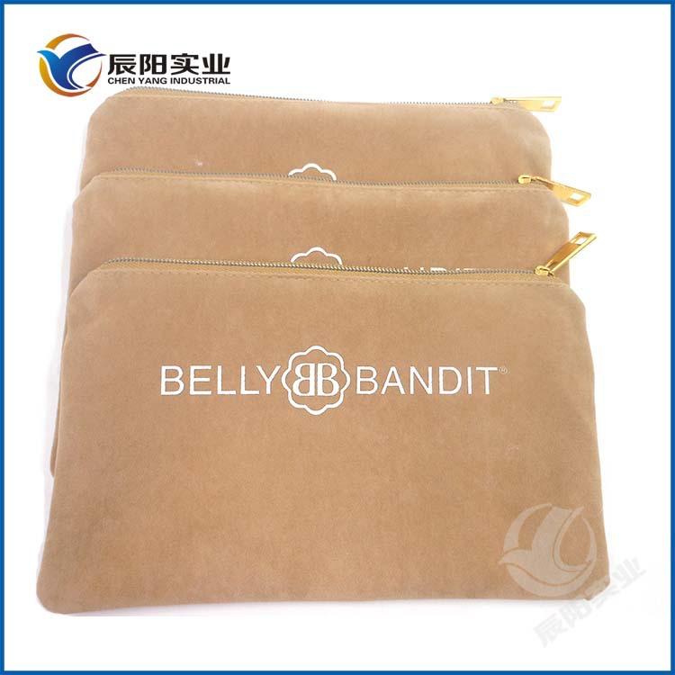 厂家专业定做鹿皮天鹅绒拉链布袋 欧美版BELLYBANDIT收纳拉链布袋