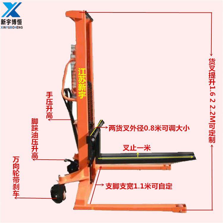 热卖1.5吨1.6米宽叉脚手动托盘装卸车液压升降车油压堆高搬运机