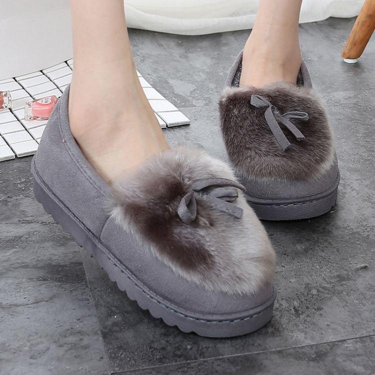 2017冬季新款家居棉鞋慈溪户外豆豆棉鞋女棉拖鞋厂家批发一件代发